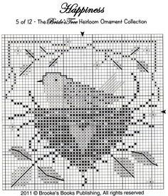 Happiness bird in nest cross stitch chart / pattern