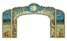 Hand painted wood stage, after center piece is done, I intend to print this on card stock for a do it yourself project