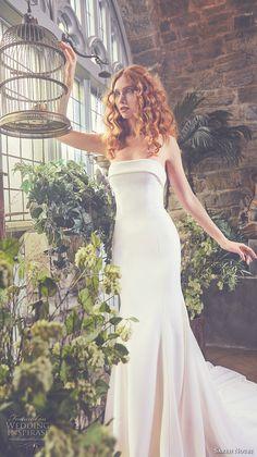 sareh nouri spring 2018 bridal strapless straight across neckline simple clean elegant fit and flare wedding dress chapel train (harper) mv -- Sareh Nouri Spring 2018 Wedding Dresses