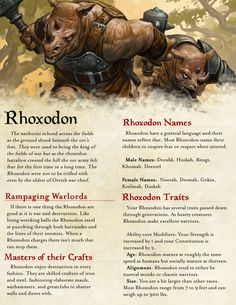 Part 1 of 2 of my Homebrew Rhoxodon race balanced for DND 5E