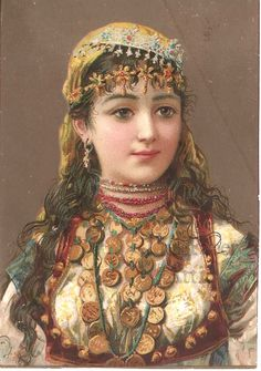 Pretty Gypsy Woman with Coins Antique French Chromo Illustration