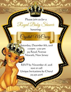 Gold Lion King Prince Baby Shower Invitations (sold in sets of - Site Today Lion King Baby Shower, Baby Shower Niño, Baby Shower Parties, Baby Shower Themes, Baby Shower Decorations, Shower Ideas, Shower Centerpieces, Balloon Decorations, Unique Invitations