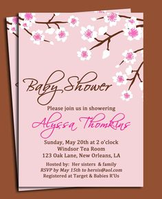 75 best adult party invitation styles images on pinterest party cherry blossom invitation printable or printed with free shipping birthday wedding shower baby shower or garden party stopboris Images