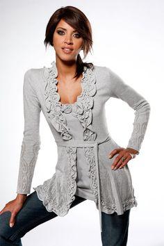 Wool Cardigans - Wool Clothing & Knitwear - Heine Ruffle Cardigan - EziBuy Australia