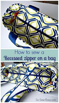 Video step by step tutorial on how to add a recessed zipper to ANY bag sewing pattern. Once you know the technique, it's easy to add this sort of closure to the top of almost any bag pattern. Great (Diy Step How To Sew) Bag Patterns To Sew, Sewing Patterns Free, Free Sewing, Quilted Purse Patterns, Handbag Patterns, Pattern Sewing, Hand Sewing, Sewing Hacks, Sewing Tutorials