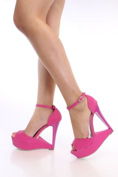 Fuchsia Open Toe Carved Wedges Nubuck-hmmmmm