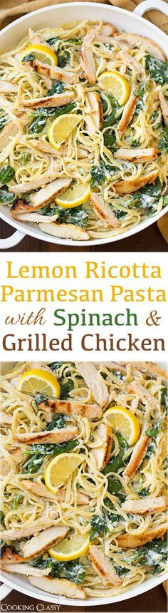 Lemon Ricotta Parmesan Pasta with Spinach and Grilled Chicken - this pasta is AMAZING! Delicious flavor and easy to throw together! Grilled Chicken Parmesan, Lemon Pasta, Chicken Pasta With Spinach, Pasta Recipes With Chicken, Great Pasta Recipes, Chicken Linguine, Ricotta Chicken, Parmesan Pasta, Pasta With Meat
