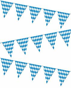 """Oktoberfest Pennant Banner, 30 Feet. This 30 foot long Oktoberfest pennant banner is made of tough PVC plastic so you can use it indoors or outside. The Bavarian check pennant banner is the perfect item to decorate your """"Biergarten"""" for any Oktoberfest or Bavarian beer party. The pennants are versatile as they can be tied, taped or stapled virtually anywhere in need of some Oktoberfest decorating. Prost!"""