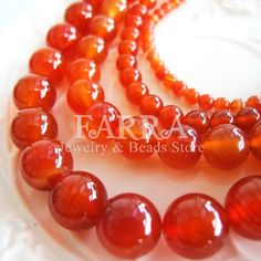 Red agate beads 15 inch strand red natural agate by FARRAgem