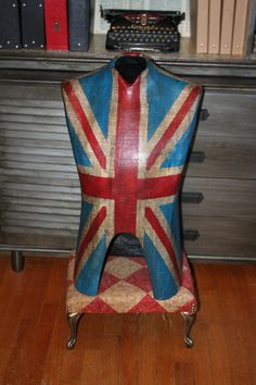 Vintage Union Jack Flag Male Dress Form Mannequin Table Top Decoupaged Painted Artful Decor Antiqued Distressed **Ready to Ship**