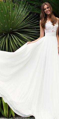Elegant Tulle & Chiffon Jewel Neckline See-through Bodice A-line Wedding Dress With Lace Appliques #weddingdress