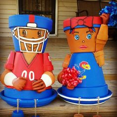Items similar to KU Football Fans Flower Pot Heads on Etsy Hey, I found this really awesome Etsy lis Flower Pot Art, Clay Flower Pots, Flower Pot Crafts, Flower Planters, Clay Pot Projects, Clay Pot Crafts, Diy Clay, Flower Pot People, Clay Pot People