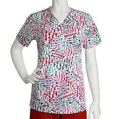f6ebc0c5b7c Icu by Barco Uniforms Women's Detail V-Neck Print Top #holiday #Christmas #