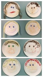 """Self-portrait paper plate art, pre-k, all about me week. We made these during … Self-portrait paper plate art, pre-k, all about me week. We made these during all about me week. I paired it with """"I like me"""" book by Karen Beaumont. Preschool Themes, Preschool Lessons, Preschool Learning, Preschool Activities, All About Me Activities For Preschoolers, Feelings Preschool, All About Me Crafts, All About Me Book, All About Me Project"""