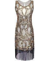 Amazon.com: PrettyGuide Women's 1920s Gatsby Sequin Art Deco Fringed Cocktail Flapper Dress S Burgundy: Clothing
