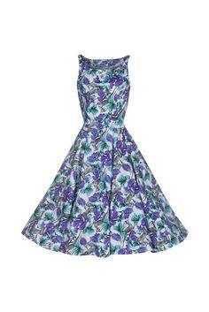 e9057d09b7 White Purple and Green with Antelope Print Floral Swing Dress. Pretty CatsPretty  KittyAudrey Hepburn Style50s DressesSummer ...