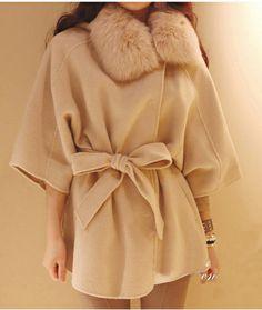 Beige Long Sleeve Fur Collar Hooded Cap Wool Coat.  Wonderful look.  Yours at http://www.sheinside.com/Beige-Long-Sleeve-Fur-Collar-Hooded-Cap-Wool-Coat-p-150122-cat-1735.html?src=ls&siteID=91dC4VNaABY-L7O3.JqXne8.7Xws_Q2reg  $31.44