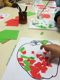 Déchirer et décorer la pomme - Kindergarten Lesson Plans Preschool Art Activities, Apple Activities, Alphabet Activities, Autumn Activities, Kindergarten Readiness, Kindergarten Lesson Plans, Princess Activities, Classe D'art, Letter A Crafts