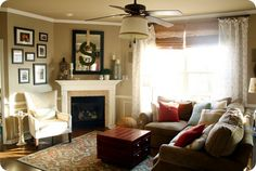 An ultra cozy living room created by Sarah at Thrifty Décor Chic: http://thriftydecorchick.blogspot.com/2012/02/family-in-family-room.html