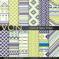 "Aztec Digital Paper: ""LIME NAVY AZTEC"" aztec patterns, tribal background, lime geometric background, blue digital paper, triangles, arrows,"
