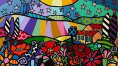 kleurrijk schilderij, kleurrijke schilderijen, vrolijk schilderij, popart, Italiaans landschap 2 (140 x 80 cm)