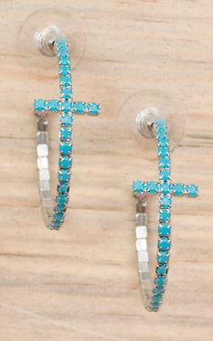 Silver with Turquoise Stones Cross Hoop Earrings