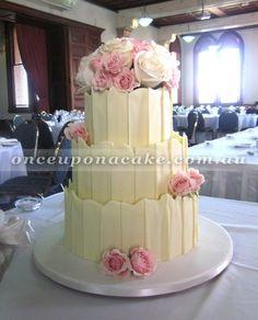 Wedding Cake With Chocolate Shards  Wwwonceuponacakecomau cakepins.com