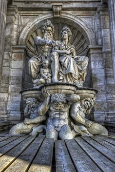 Poseidon's Perch ~ Alabaster fountain under renovation depicting Poseidon and hippocampi outside of Hofburg Palace in Vienna, Austria. Photo: JRaptor, via Flickr