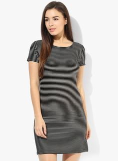 29599ae485 Buy MANGO Black Striped Textured Shift Dress Online - 3805510 - Jabong