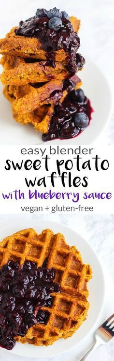 Blender Sweet Potato Waffles with Blueberry Sauce (vegan + gluten-free) (Organic Gluten Free Recipes)