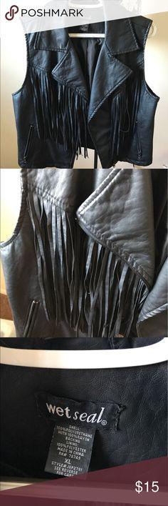 Leather vest Leather vest with fringe Wet Seal Jackets & Coats Vests