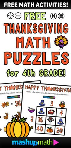 12 Thanksgiving Math Activities for Grades 1-8 — Mashup Math