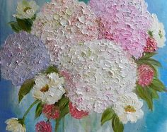 White Hydrangea and Mixed Ranunculus Oil Impasto by KenziesCottage