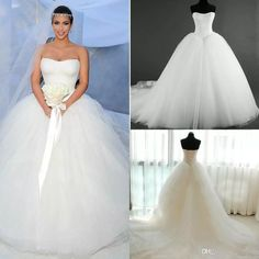 2015 New Corset Kim Kardashian Bridal Gown Actual Images Hot Sale Fashion Strapless A-line Wedding Dresses Bridal Gow Tulle White Lace Vintage Wedding Dresses Lace Up Wedding Dresses Wedding Dress Online with $198.86/Piece on Caradress's Store   DHgate.com