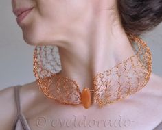 Modern Soul Necklace Collar ~ hemispherical pure copper handknit lace with fire agate gemstone by eveldorado, $82.00