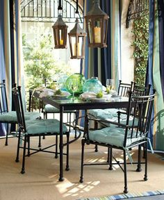 The outdoor room.with outdoor drapes and hanging lanterns Outdoor Drapes, Outdoor Rooms, Outdoor Decor, Outdoor Living, Metal Patio Furniture, Home Furniture, Outdoor Furniture Sets, Garden Furniture, Modern Furniture