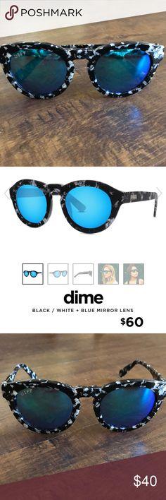 WORN ONCE: DIFF Sunglasses- Dime II Black & White DIFF Sunglasses- Dime II Black/White with Blue Mirror Lens Diff Eyewear Accessories Sunglasses