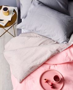 Love this shot by @domayne_australia our Maison quilt cover and Kali dinner plate and tea cup all in Pastel Pink  #aurahome #Domayne #aurastockist
