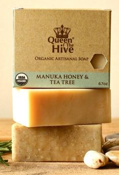 The Manuka Honey & Tea Tree Soap is all natural, multi-purpose cleansing bar that contains Organic Manuka Active (OMA) 12+ Honey from New Zealand, Aloe Vera Gel and Australian Tea Tree oil. #skincare