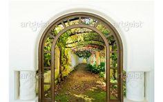 Fotomurale moderno Door to Secret Garden - Foglie e alberi - Paesaggi - Natura - Fotomurali