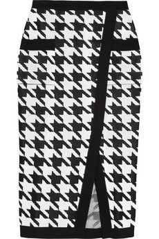 Balmain Houndstooth-intarsia knitted pencil skirt   NET-A-PORTER