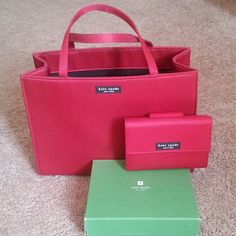 New - Authentic Kate Spade Handbag & Wallet(NWOT) Beautiful Cranberry Nylon Kate Spade Handbag. 1 interior middle zip compartment & 1 interior side zip compartment. More of a deep color cranberry color # 610. Picture shows lighter color.  Matching Wallet w/ box. New Never Used. Wallet does not have tag. Box is a little damaged. kate spade Bags