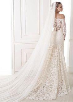 Stunning Tulle & Lace Mermaid Off-the-shoulder Neckline Natural Waistline Wedding Dress