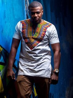 Mens Original Dashiki fabric with white Polished cotton. Perfect for all occasions  **ALL SIZES ARE AVAILABLE** **MADE TO ORDER**  CARE