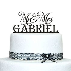 Personalized Name Wedding Cake Topper, Mr and Mrs Wedding Cake Topper,Vintage Style Topper Black >> New offers awaiting you  : Baking decorations