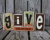 Give Thanks wood blocks