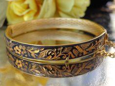 SOLD 24k Red Gold Floral Bird Damascene Damasquina Bangle Bracelet TOLEDO SPAIN RARE?