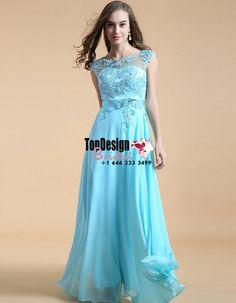 Wholesale Vestidos De Fiesta New 2017 Baby Blue Lace Applique Prom Dress Long Chiffon Evening Gown
