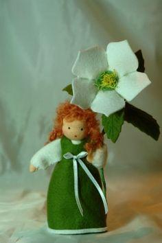 Christmas Rose -Christmas- Flower Child - Waldorf  Inspired. €33.00, via Etsy.
