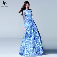 Quality HIGH QUALITY New 2015 Fashion Women's Long Sleeve Vintage Blue And White Print Dress Brand Maxi Dress with free worldwide shipping on AliExpress Mobile Maxis, Vestidos Vintage, Vintage Dresses, Spring Dresses, Spring Outfits, Dress With Cardigan, Dress Up, Beautiful Maxi Dresses, Dress Brands